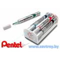 Pentel маркер для доски Maxiflo c подкачкой набор 4 цвета + щетка