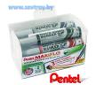 Pentel набор маркеров для доски Maxiflo c подкачкой 4 цвета + щетка